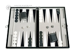 15-inch Leatherette Travel Backgammon Set - Inlaid Velvet Field