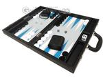 16-inch Premium Backgammon Set - Black with White and Astral Blue Points