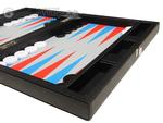 13-inch Premium Backgammon Set - Black with Scarlet Red and Patriot Blue Points