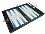 13-inch Premium Backgammon Set - Black with White and Astral Blue Points