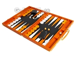 Hector Saxe Croco Leather Backgammon Set - Orange