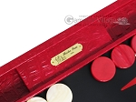 Hector Saxe Croco Leather Backgammon Set - Red