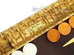 Hector Saxe Croco Leather Backgammon Set - Gold