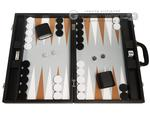19-inch Premium Backgammon Set - Black with White and Rum Points