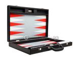 19-inch Premium Backgammon Set - Black with White and Scarlet Red Points