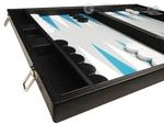 19-inch Premium Backgammon Set - Black with White and Astral Blue Points