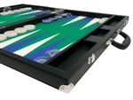 Wycliffe Brothers® 24-inch Backgammon Set with 2-inch Checkers - Black Case with Green Field - Club Class