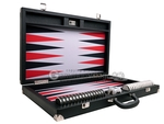 Wycliffe Brothers® 23-inch Backgammon Set with 1.75-inch Nickel Checkers - Black Case with Grey Field - Prestige Class