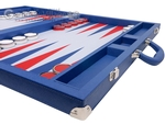 Wycliffe Brothers® 23-inch Backgammon Set with 1.75-inch Nickel Checkers - Blue Case with Light Blue Field - Prestige Class