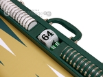 Wycliffe Brothers® 23-inch Backgammon Set with 1.75-inch Nickel Checkers - Green Case with Mustard Field - Prestige Class