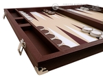 Wycliffe Brothers® 23-inch Backgammon Set with 1.75-inch Nickel Checkers - Brown Case with Beige Field - Prestige Class