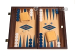 15-inch Oak Backgammon Set - Blue