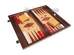 15-inch Oak Backgammon Set - Red