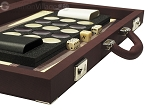 Dal Negro Composite Fiber/Leatherette Backgammon Set - Bordeaux