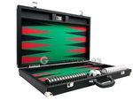 Wycliffe Brothers® 23-inch Backgammon Set with 1.75-inch Nickel Checkers - Black Case with Green Field - Prestige Class