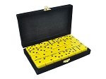 DOUBLE 6 Yellow Dominoes Set - With Spinners - Velvet Box
