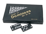 DOUBLE 6 Dominoes Black Tiles with White Dots in Black Vinyl Case