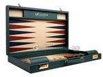 Excalibur Leather Backgammon Set -  EXC01 - Jade Green Case with Magnolia Field