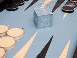 Excalibur Leather Backgammon Set - EXC04 - Black Case with Sky Blue Field