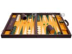 Excalibur Leather Backgammon Set - EXC06 - Mocha Case with Mustard Field
