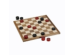 Classic Checkers Set - Red & Black Pieces with Solid Walnut & Maple Wood Board 18 in. (Made in USA)