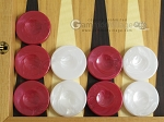 Backgammon Checkers - High Gloss Marbleized Plastic - Red (1-1/2in. Dia.) - Set of 30