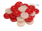 Backgammon Checkers - High Gloss Acrylic - Red & Ivory (1 1/2in. Dia.) - Set of 30