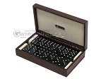 Double 6 Swarovski Crystal Black Dominoes Set - Brown Lizard Case