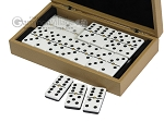 Double 6 Dominoes Set - Black Back - Beige Leather Case