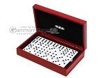 Double 6 Dominoes Set - Black Back - Red Croco Case