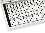 Double 6 Dominoes Set - Black Back - White Croco Case