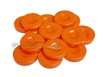 Backgammon Checkers - Opaque - Orange - with Finger Dish - (1 3/4 in. Dia.) - Roll of 15