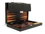 Zaza & Sacci® Leather Backgammon Set - Model ZS-242 - Travel - Black Lizard