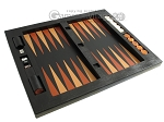 Zaza & Sacci® Leather Table Top Backgammon Set - Black Lizard