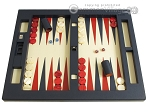 Zaza & Sacci® Leather Table Top Backgammon Set - Blue