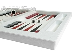 Zaza & Sacci® Leather Table Top Backgammon Set - White Croco