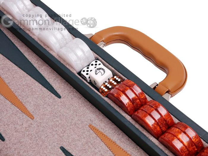 Aries™ Professional Leather Backgammon Set - Green and Tan Case with